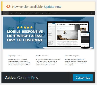 Updating GeneratePress