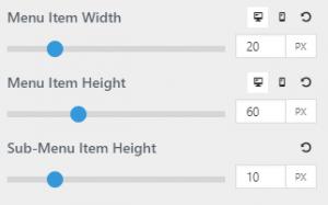 Menu Item Height & Width - Documentation