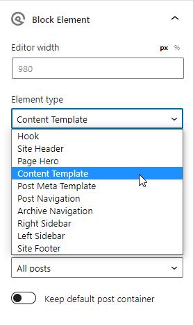 Block Element zur Template Auswahl